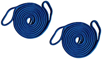2 Pack of 1//4 Inch x 6 Ft Blue Double Braid Nylon Fender Lines for Boats