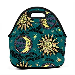 Sun And Moon Neoprene Lunch Bag Tote Reusable Insulated Waterproof School Picnic Carrying Lunchbox Container Organizer For Women, Men, Adults, Kids, Girls, Boys