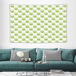 GreenTapestries for Sale Holiday Theme with Foamy Beer Glasses Celebration Fun Doodle Pattern Design Wall Decoration Tapestry Beach Mat W72 x L54 inch