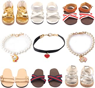 ReeRaa 9 Set 18 inch Doll Shoes American Girl Doll Accessories 6 Pairs of Shoes + 3 Necklaces Suitable for American Girl D...