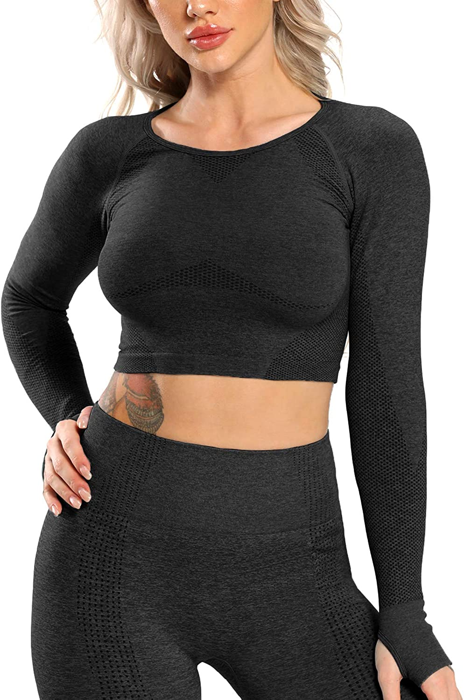 CFR Women Cute Seamless Long Sleeve Gym T Yoga Tops Crop Milwaukee Mall Ranking TOP18 Workout