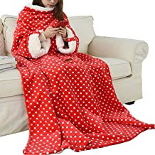 Wearable Blanket with Sleeves Arms, Super Soft Warm Comfy Large Fleece Plush Sleeved TV Throws, Wrap Robe Blanket for Adul...