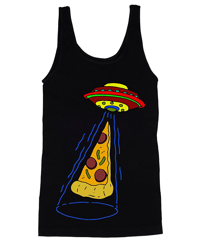 Aliens Abducting aスライスのピザメンズタンクトップシャツ