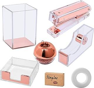 Clear Acrylic Rose Gold Desktop Supplies Office Stationery Set Tape Dispenser, Memo Holder, Magnetic Paper Clips Holder, S...