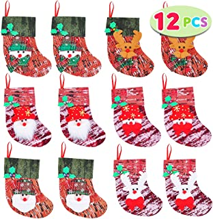 """JOYIN 12 Pack 6"""" Mini Christmas Stocking, 3D Xmas Stockings with Holly Berries Trim and Assorted Designs for Christmas Tree Decoration, Party Favors and Holiday Season Supplies"""