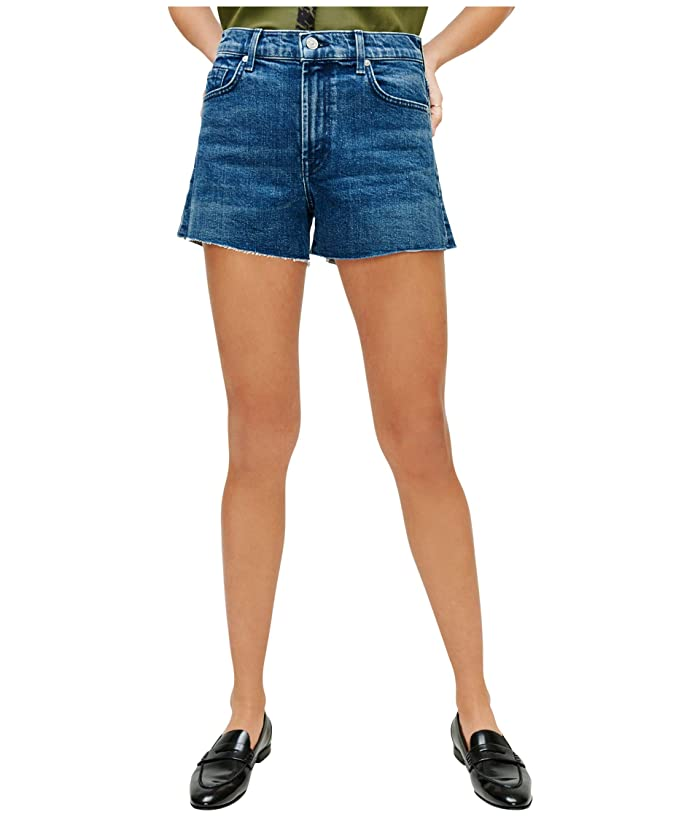 7 For All Mankind  High-Waist Shorts with Fray Hem in Retro Broadway (Retro Broadway) Womens Shorts