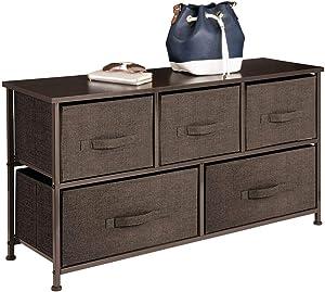 mDesign Comodino in tessuto – Pratico sistema di organizzazione con 5 cassetti – Ottima cassettiera per le camere da letto, appartamenti e stanze piccole – Marrone scuro