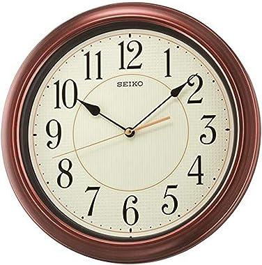 Seiko Numbered Wood Finish Wall Clock, Brown