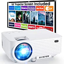 """Projector, HOMPOW Mini Projector with screen, Portable Video Projector with 6000 Lux, 1080P Supported, 240"""" Display, Buil..."""