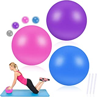 WUQID Mini Exercise Barre Ball for Yoga Anti Burst and Slip 9 Inch Resistant Balls with Inflatable Straw for Pilates,Stabi...