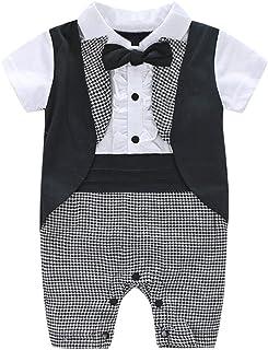 HUBA Baby Strampler Jungen Gentleman Kurzarm Romper Jumpsuit mit Bowtie Swallowtail Overalls Classic Säugling Spielanzug0-24Monate