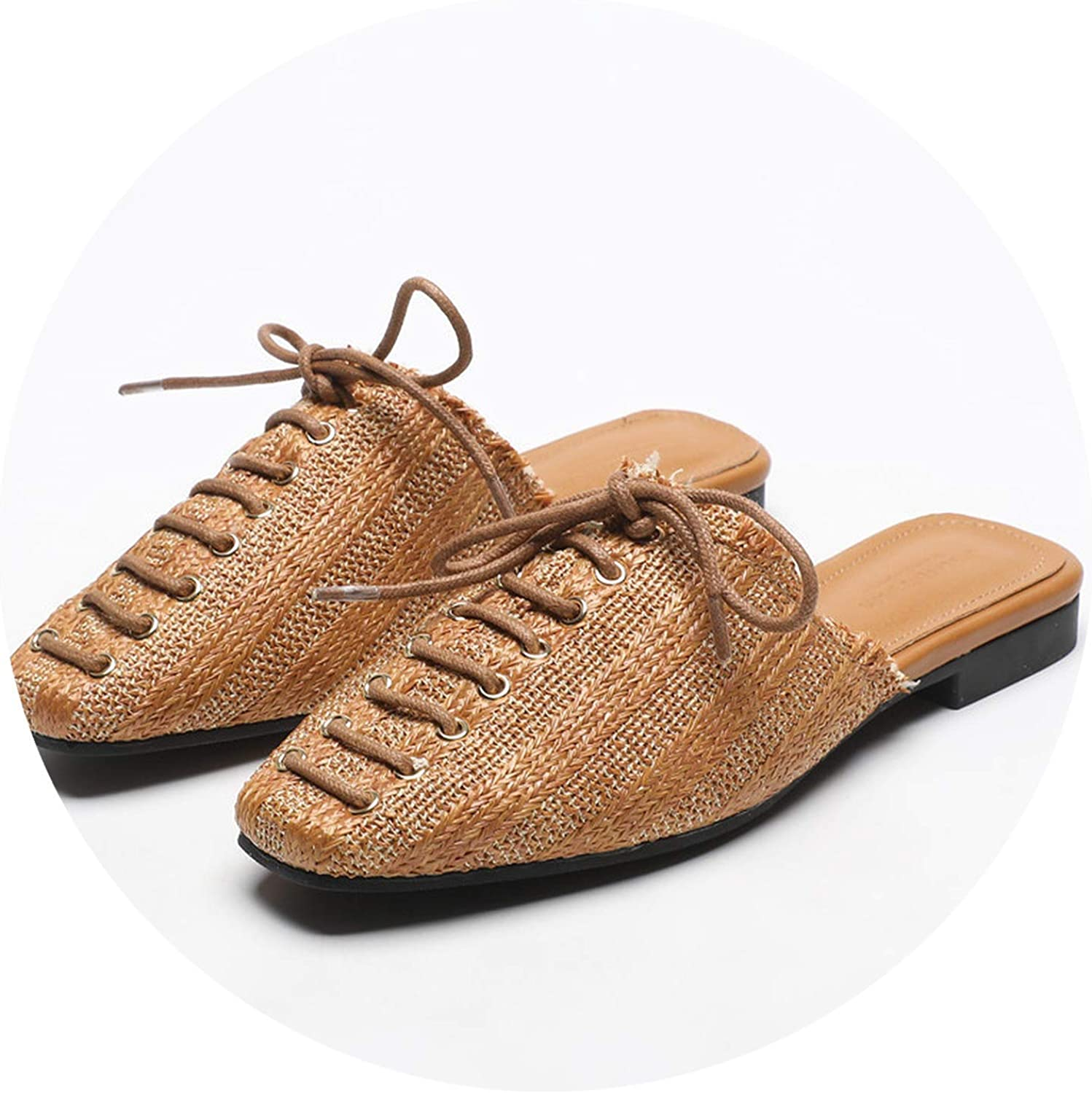 Cross-Tied Microfiber Slippers Weaving Mules shoes Woman Summer Square Toe Straw Flats Flip Flops Femme Slides Casual
