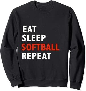 Funny Eat Sleep Softball Repeat Gift Present Sweatshirt
