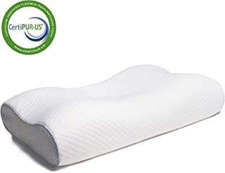 Coolux Memory Foam Pillow - Contour Sleeping Pillows Support for Neck Pain, Cervical Bed Pillow for Back, Stomach, Side Sl...