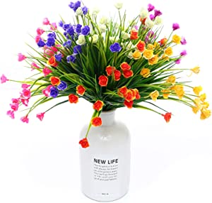 WELL LOVE Artificial Flower 6 Bundles Home Greenery Shrubs Kitchen Wedding Party Garden Bushes Plants Office Indoor Outside UV Resistant Hanging Planter DIY Mini Rose Mix Color Gift Set