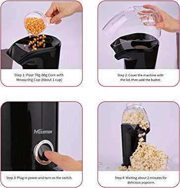 Nictemaw Hot Air Popcorn Machine, 1400W Electric Popcorn Maker, Popcorn Popper Maker, Popcorn Maker with Measuring Cup and To
