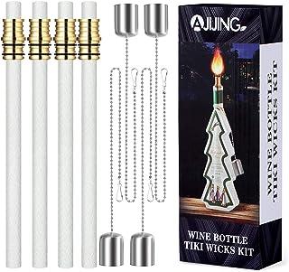 AJIJING 4 Pack Wine Bottle Torch Wicks Kit, DIY Homemade Torch for Patio Citronella Backyard Outdoor Oil Lamps Liquor Wine...