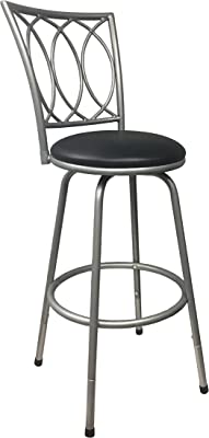 Amazon Com Redico Counter To Bar Height Adjustable 360 Degree Swivel Metal Bar Stool Powder Coated Silver Furniture Decor