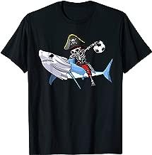 Dab Jolly Roger Pirate Riding Shark Play Soccer Halloween T-Shirt