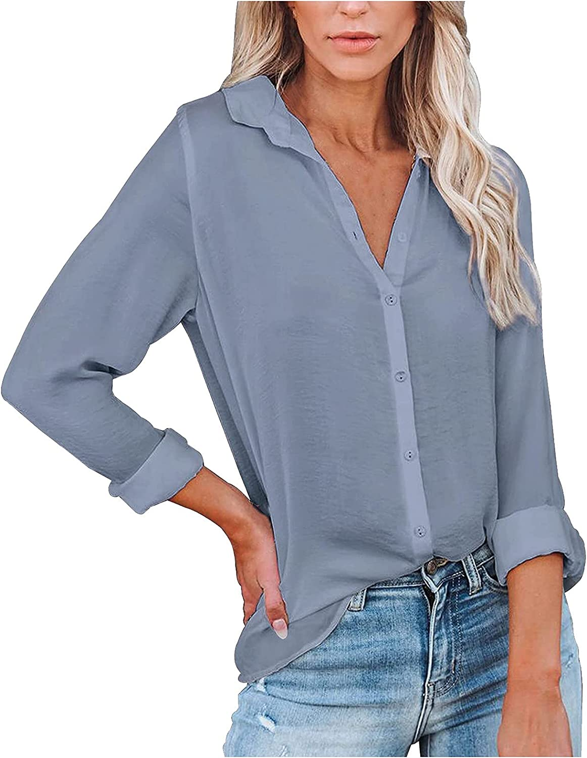 Women's Solid Color Button Loose Strip Printing Tops V Neck Out Long Sleeve Shirts Hoodie Pullover Sweatshirts