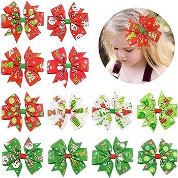 12Pcs Girl Christmas Holiday Gift Snowflake Ribbon Hair Bows Clip Girl Hairpin