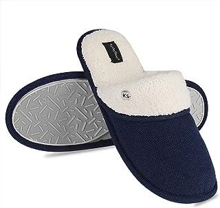KushyShoo Men Slippers, Cotton Fleece Slipper for Men, Cozy Clog House Shoes