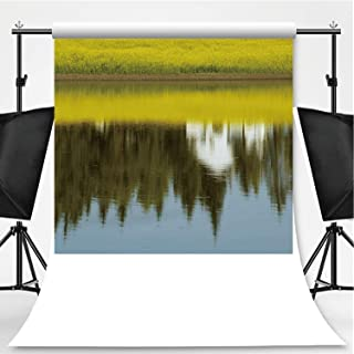 Canola Field Reflection Photography Background,160214 for Video Photography,Pictorial Cloth:6x10ft