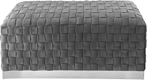 Satine Grey/Chrome Velvet Bench