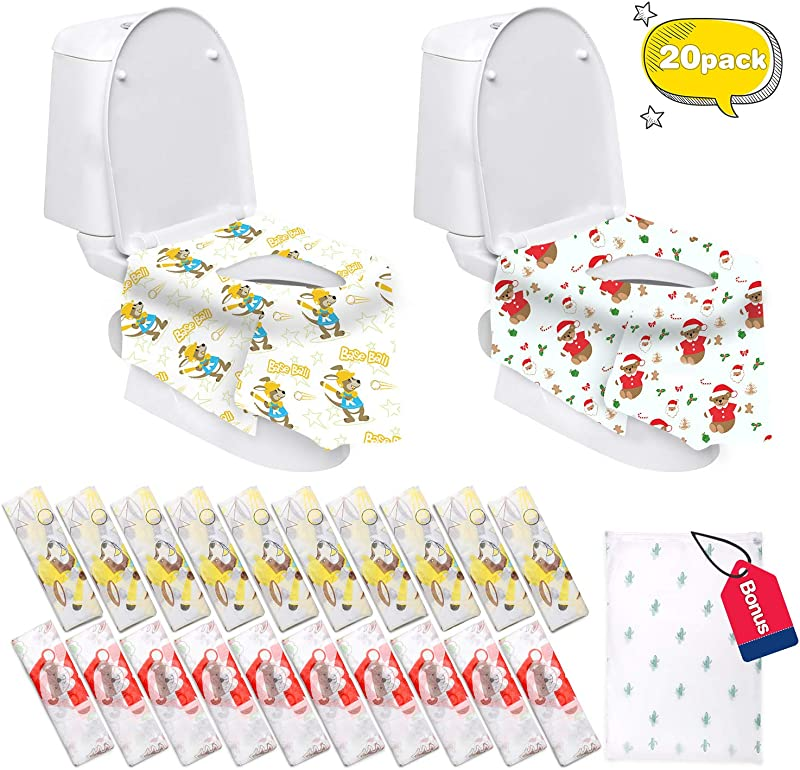 Disposable Toilet Seat Covers Extra Large 20 Packs 10 Bear Design 10 Kangaroo Perfect For Adults And Kids Potty Training With Individually Wrapped Bear Kangaroo