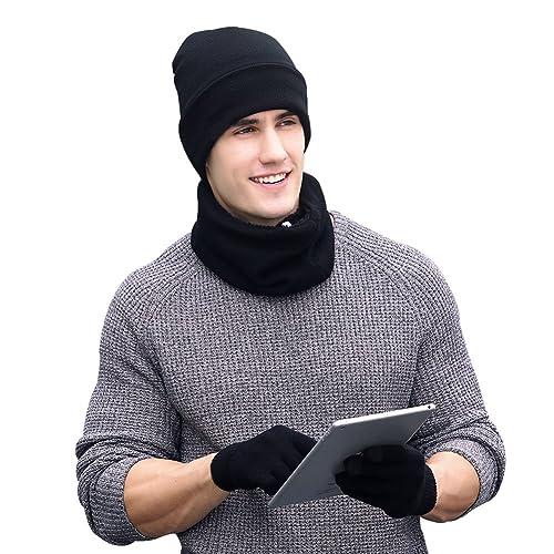 VBIGER Winter Warm Beanie Hat + Scarf + Touch Screen Gloves afadbe5df1b3