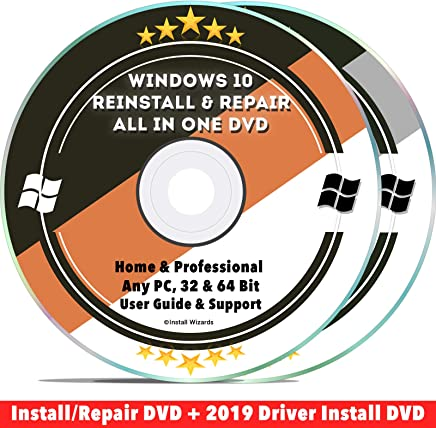 Windows 10 Compatible Repair & Reinstall Disc Set: Recovery Reboot Restore Fix Factory Reset - Home or Professional 32 & 64 Bit PC Computer + Drivers Install 2019 (2 DVD Set)