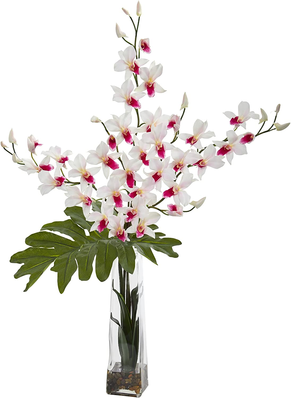 Amazon Com Nearly Natural Dendrobium Tropical Orchid Artificial Vase Silk Arrangements White Furniture Decor