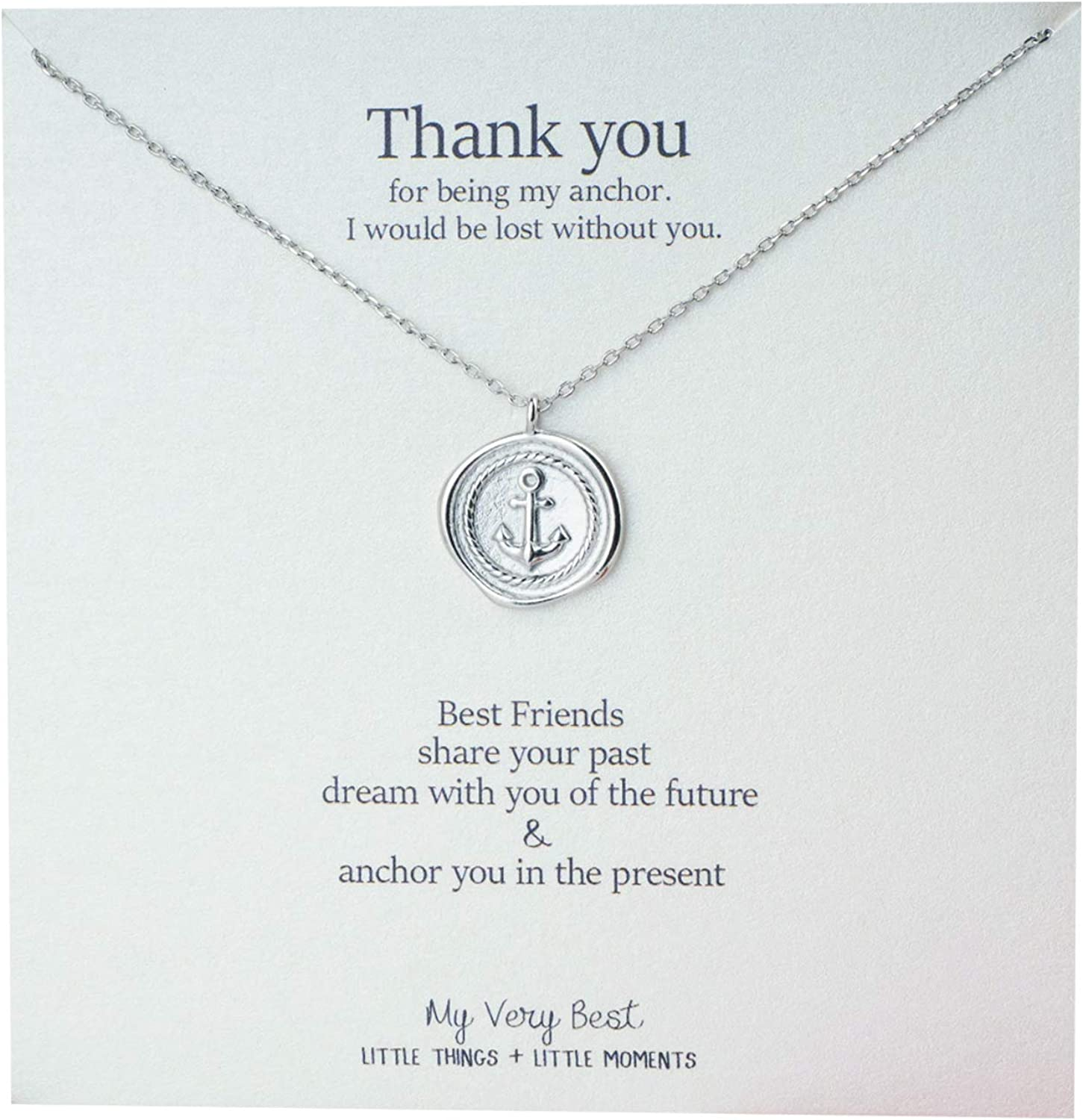 My Very Best Friendship Anchor Necklace Sweet Present Idea Best Friend Necklace for Women Express Love and Thank You to Soulmate and Family