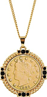 Gold Layered Liberty Nickel Medallion Goldtone Necklace Pendant-with Faceted Round Jet Glass Stones | Liberty Nickel Medallion Pendant | Layered in 24 KT Gold