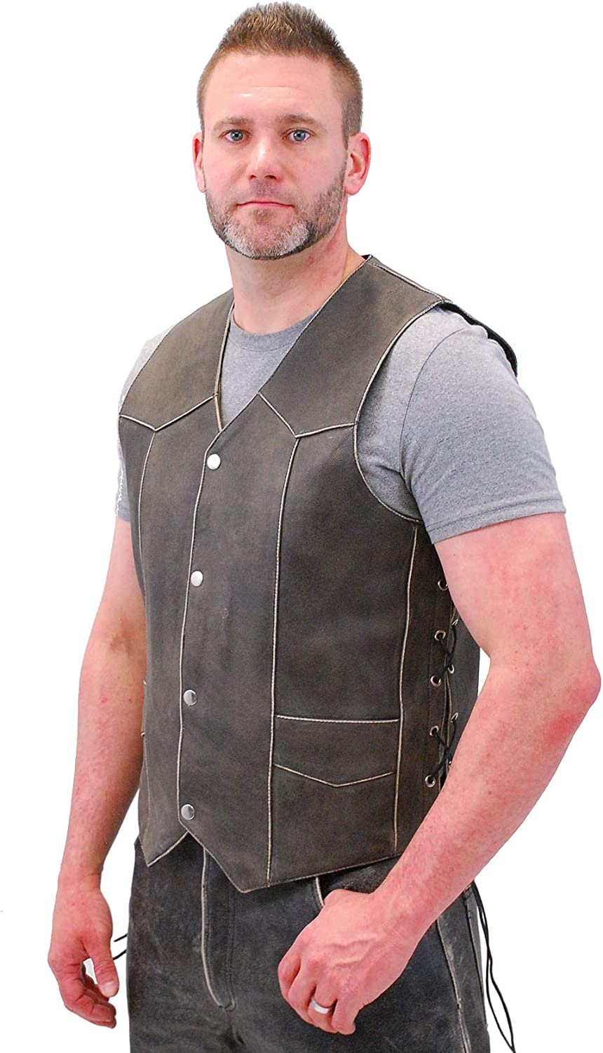 Jamin' Leather - Vintage Brown Side Lace Leather Biker Vest w/CCW Pockets #VMA273LDN