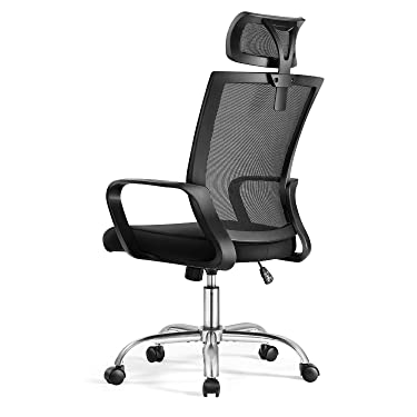 Magic Life Office Chair Computer Chair,Home Office Desk Chair with Wheels and Adjustable Headrest (Black)
