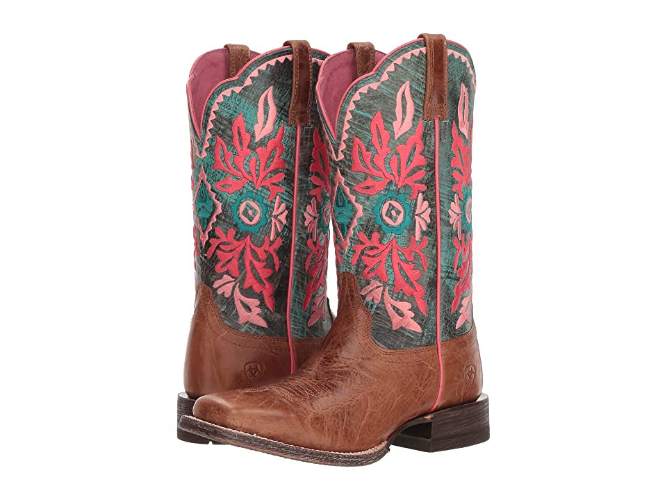 Ariat Western Magnolia (Bite The Dust Brown/Cool Blue) Cowboy Boots