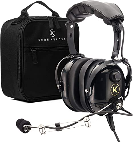 KORE AVIATION P1 PNR Mono Pilot Aviation Headset with MP3 Support Bundle with Carrying Case