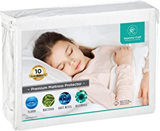 Supremo Craft Waterproof Premium Mattress Protector Vinyl Free Terry Cotton Hypoallergenic Fitted Bed Cover (Queen)
