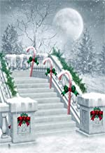 CSFOTO 3x5ft Christmas Background Winter Snowscape Stairs Xmas Candy Xmas Eve Photography Backdrop Year Festival Celebration Kids Photo Booth Shoot Digital Studio Props Polyester Wallpaper