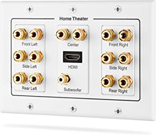 Fosmon HD8006 3-Gang 7.1 Surround Distribution Home Theater Gold Plated Copper Banana Binding Post Coupler Type Wall Plate for 7 Speakers, 1 RCA Jack for Subwoofer & 1 HDMI Port