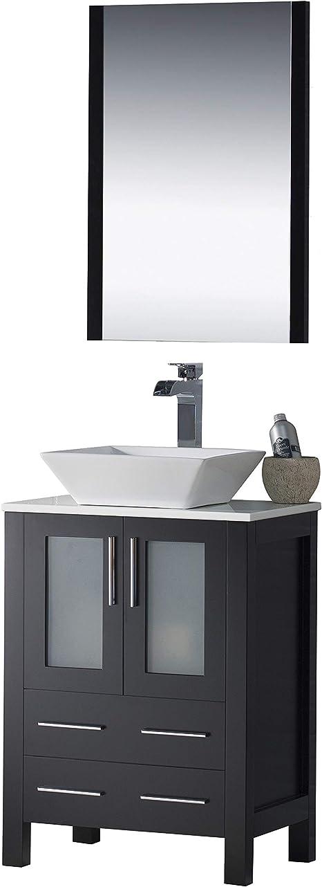 Amazon Com Blossom Sydney 24 Inches Single Bathroom Vanity Vessel Sink With Mirror All Wood Espresso 001 24 02 1616v Tools Home Improvement