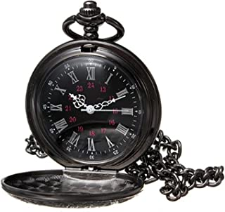 Black Classical Pocket Watch Retro Steampunk Pattern Quartz Numerals Pocket Watch with 14.5 in Chain for Xmas Birthday Fathers Day Gift