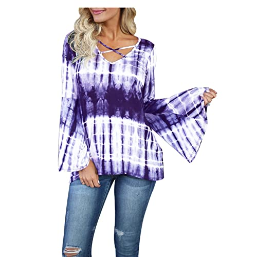 c248b27ec624d Blooming Jelly Women s Fashion Criss Cross V Neck Long Bell Sleeve Tie Dye  Shirt Top