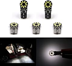 Extremely Bright T10 LED Bulbs 168 2825 W5W 194 Wedge 6000K Dome Lights 3014 Chipset 18 SMD Light Lamp For Car Interior Map License Plate Parking Light 5pcs, Xenon White