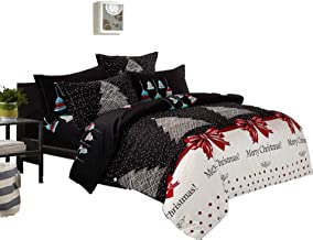 Merry Christmas Quilt Cover Set, 3 Piece Duvet Cover Set Includes 2 Pillowcases, Doona Cover Set (Queen Size)