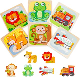 Wooden Puzzles, Transifun Animal/Vehicles Jigsaw Puzzles with Level Up, Extra Drawstring Bag for Easy Storage