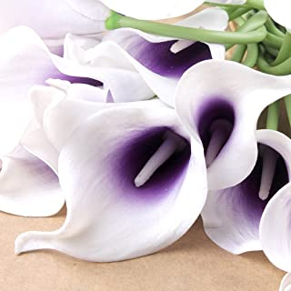 wuudi 20pcs Calla Lily Bridal Wedding Bouquet Head Latex Real Touch Flower Bouquets(Purple)
