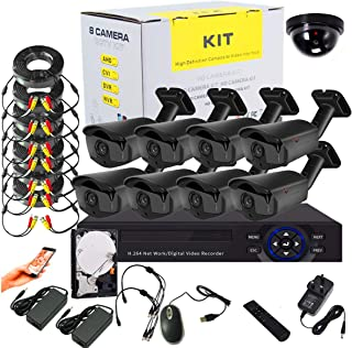 Tomvision 8Channel AHD CCTV surveillance Kit with 8CH DVR Security Recording System and 8Pcs Black Case Metal Outdoor Bull...