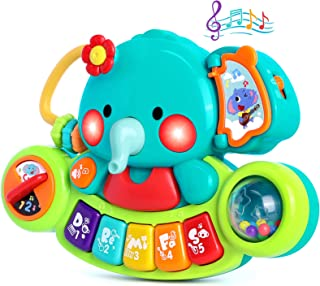 Baby Piano Toy 6 to 12 Months Elephant Light Up Music Baby Toys for 6 9 12 18 Months Early Learning Educational Piano Keyb...